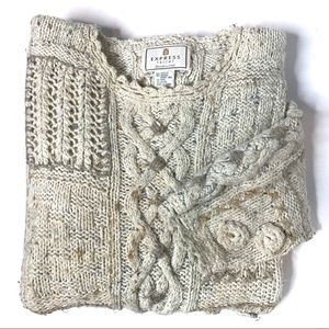 EXPRESS TRICOT HAND KNIT SWEATER ANGORA WOOL LARGE